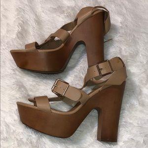 Breckelle's RENEE-21 Platform Strappy Chunky Heels